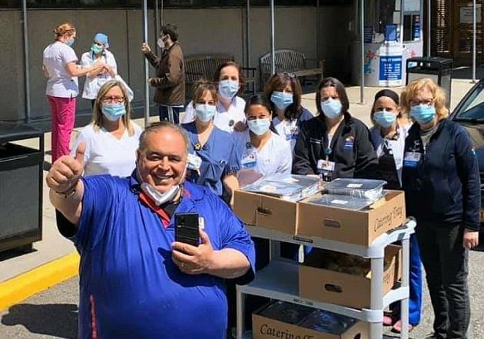 Joe Gannascoli dropping off food to hospital workers