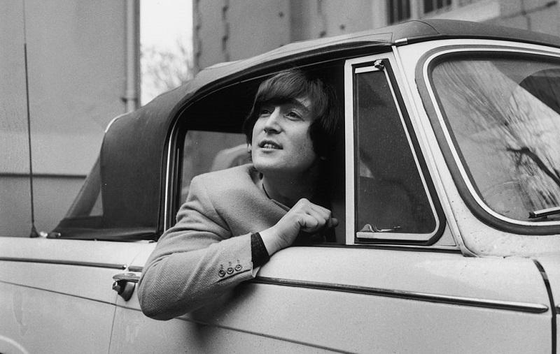 John Lennon in his car