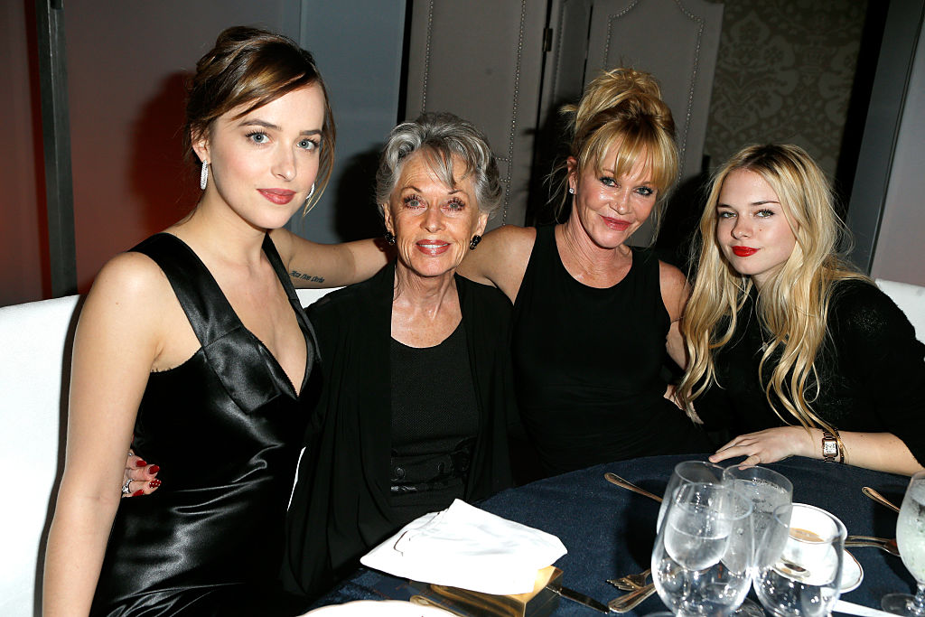 Dakota Johnson, Tippi Hedren, Melanie Griffith, and Stella Banderas at the 22nd Annual ELLE Women in Hollywood Awards on October 19, 2015.