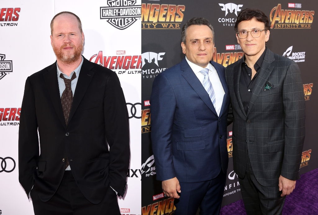 A composite image of Joss Whedon and the Russo Brothers, Joe and Anthony