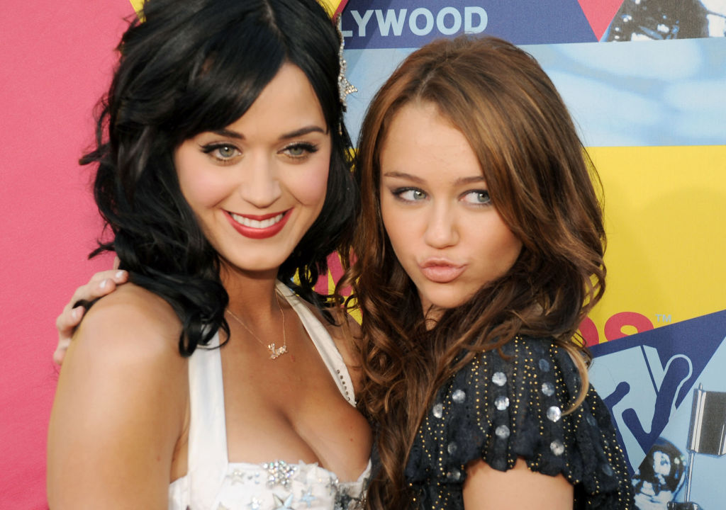 Katy Perry and Miley Cyrus at the 2008 MTV Video Music Awards on September 7, 2008