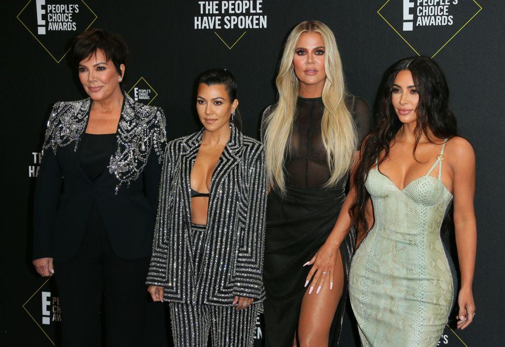 Kris Jenner, Kourtney Kardashian, Khloé Kardashian, and Kim Kardashian arrive for the 45th annual E! People's Choice Awards