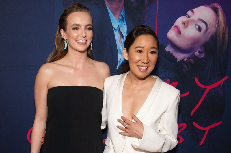Jodie Comer and Sandra Oh at a 'Killing Eve' premiere in 2019