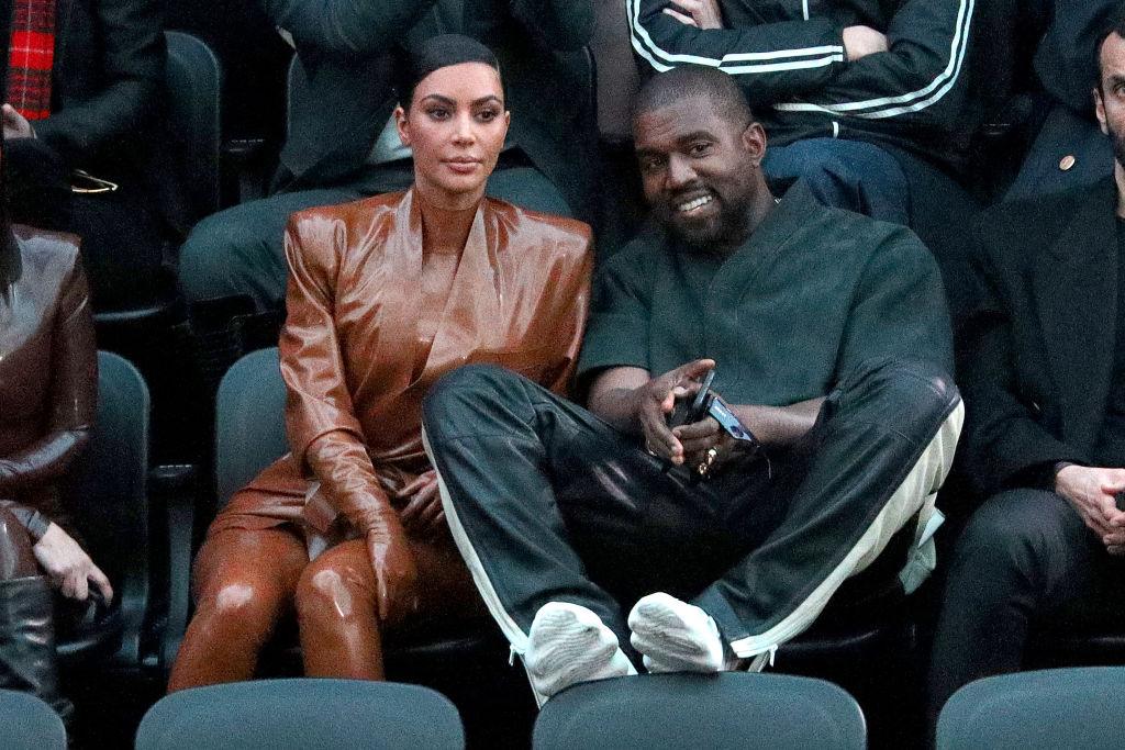 Kim Kardashian West and Kanye West at fashion show