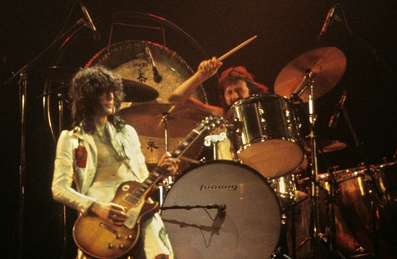 Jimmy Page and John Bonham on stage