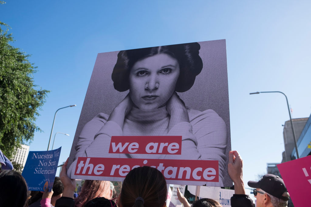 A Princess Leia sign at a 2018 women's march in Los Angeles