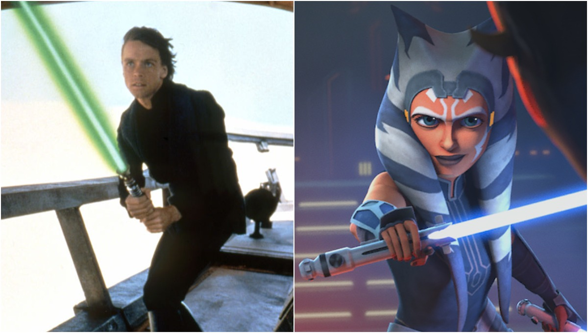 (L) Luke Skywalker on Tatooine in 1983's 'Star Wars: Episode VI - Return of the Jedi'/(R) Ahsoka Tano fighting Maul in 'Star Wars: The Clone Wars'
