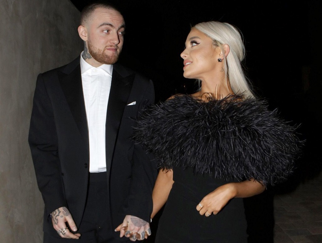 Mac Miller and Ariana Grande attending an Oscar party on March 4, 2018