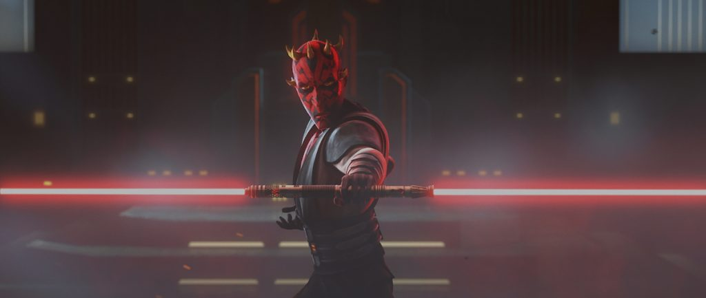 Maul wields his lightsaber in a duel with Ahsoka, 'Star Wars: The Clone Wars'