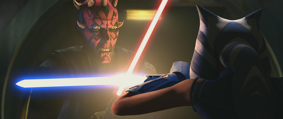 Maul and Ahsoka duel in Season 7 of 'Star Wars: The Clone Wars.'