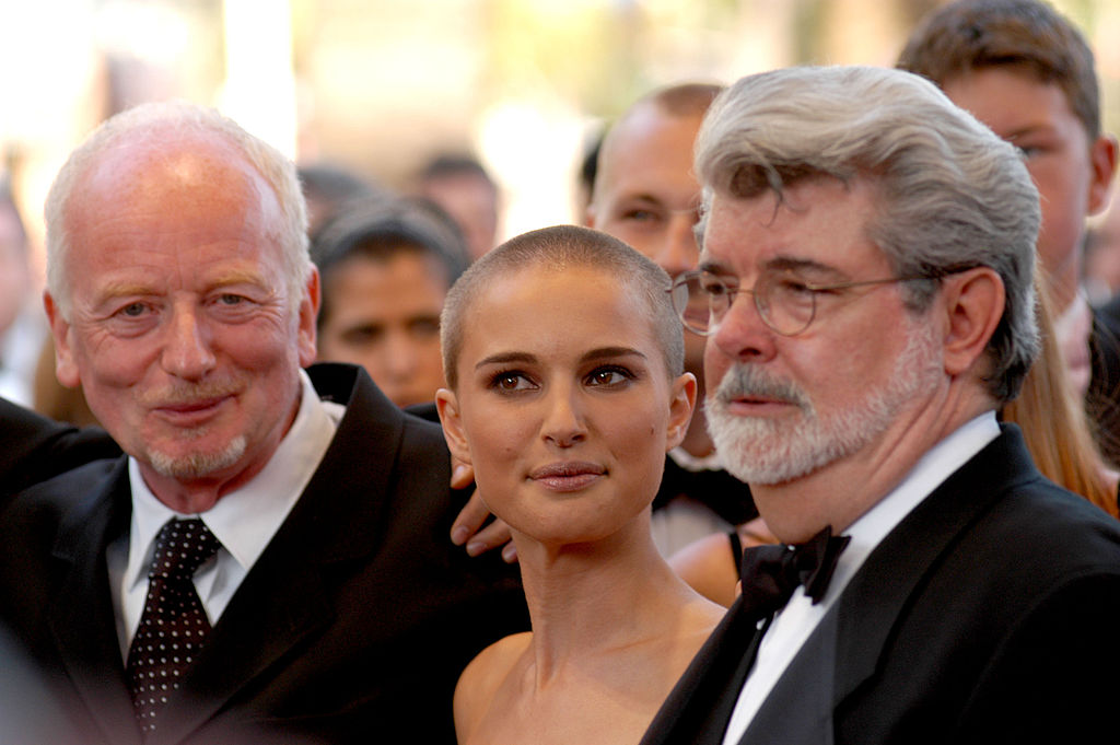 Ian McDiarmid, Natalie Portman, and George Lucas during the 2005 Cannes Film Festival - 'Star Wars Episode III - Revenge of the Sith' Premiere.