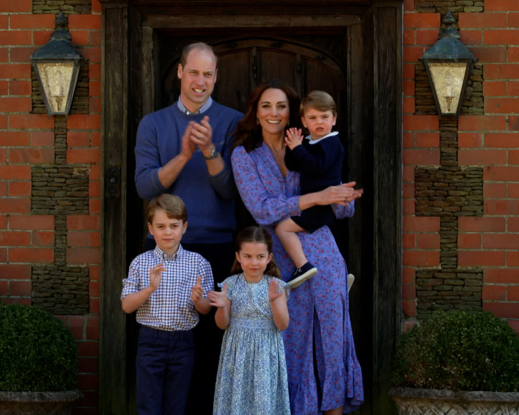 Prince William, Kate Middleton, Prince George, Prince Louis, and Princess Charlotte clap for NHS carers as part of the BBC Children In Need and Comic Relief