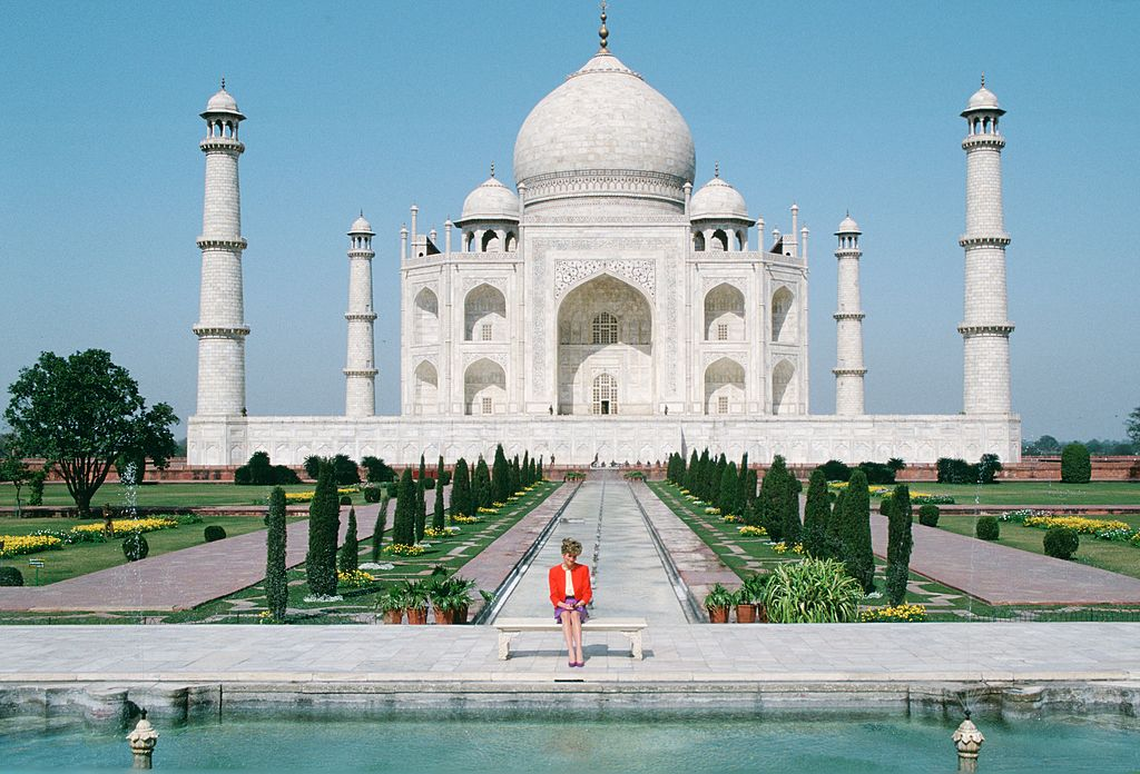 Princess Diana sits in front of the Taj Mahal during a visit to India