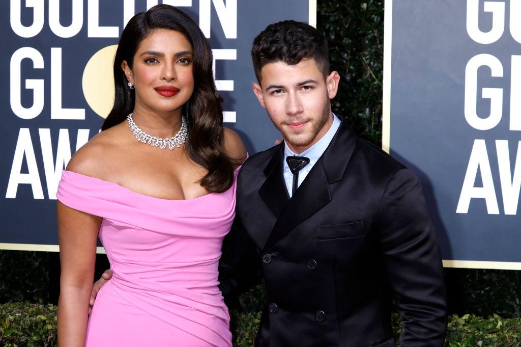 Priyanka Chopra and Nick Jonas on the red carpet of the 77th Annual Golden Globe Awards