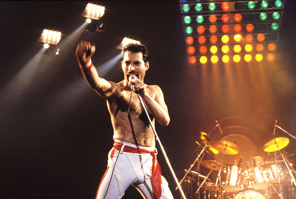 Freddie Mercury with a microphone