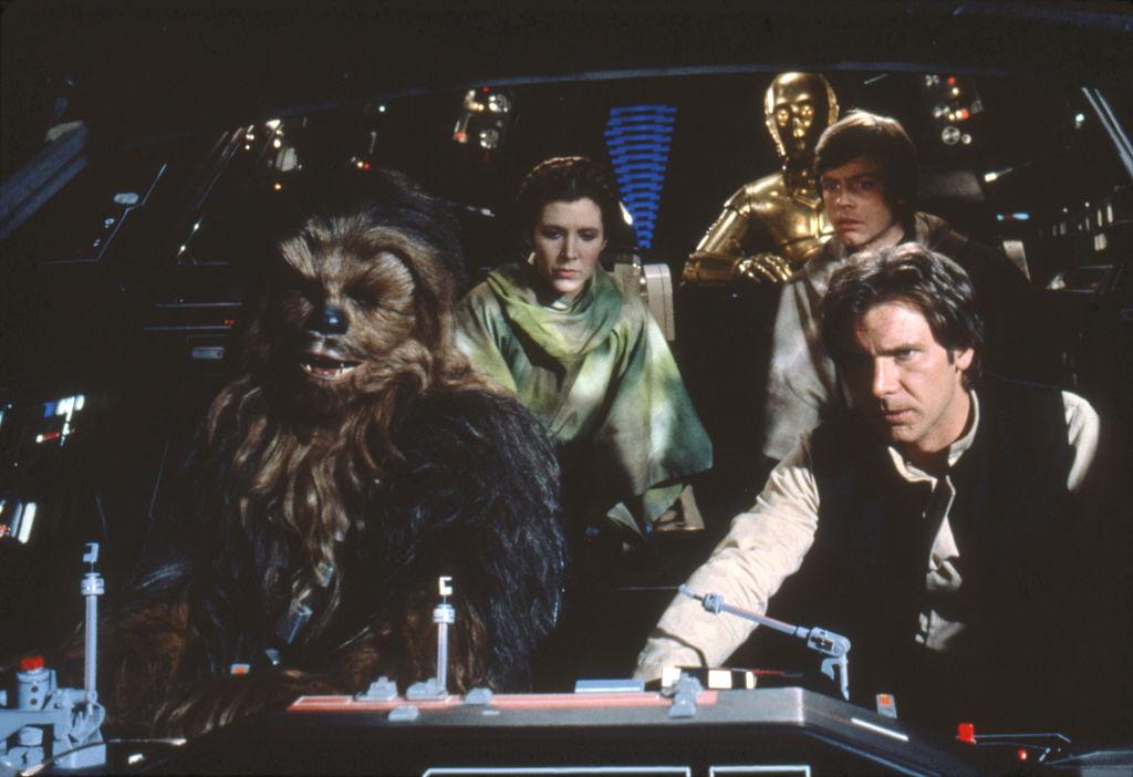 Chewbacca, Leia, Han Solo, Luke Skywalker, and C-3PO in the Millennium Falcon, 'Star Wars: Episode VI - Return of the Jedi.'
