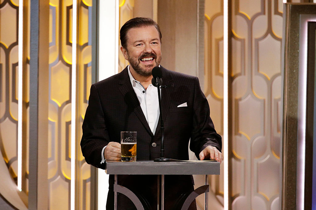 Host Ricky Gervais speaks onstage during the 73rd Annual Golden Globe Awards on January 10, 2016