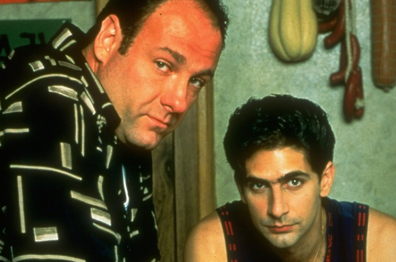 Tony and Christopher look at the camera on 'The Sopranos'