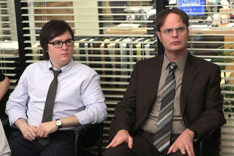 Clark Duke as Clark, Rainn Wilson as Dwight Schrute