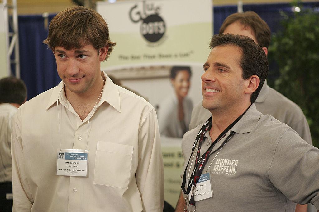 John Krasinski as Jim Halpert and Steve Carell as Michael Scott on 'The Office'