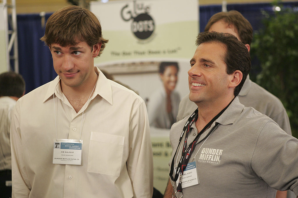 John Krasinski as Jim Halpert and Steve Carell as Michael Scott on 'The Office'
