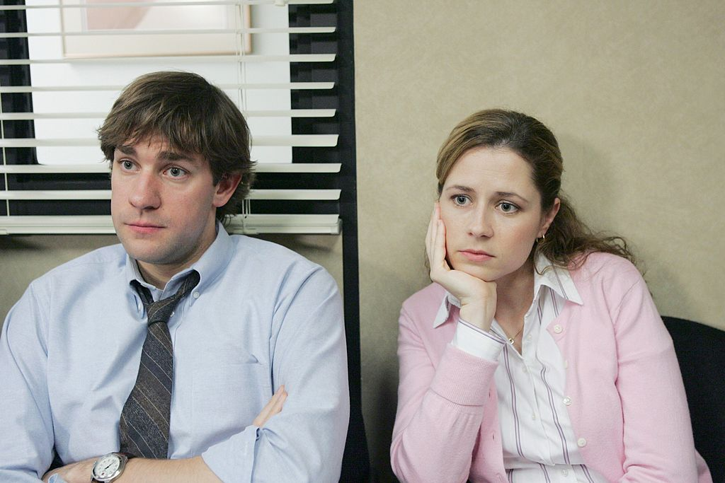 John Krasinski as Jim Halpert and Jenna Fischer as Pam Beesly on The Office