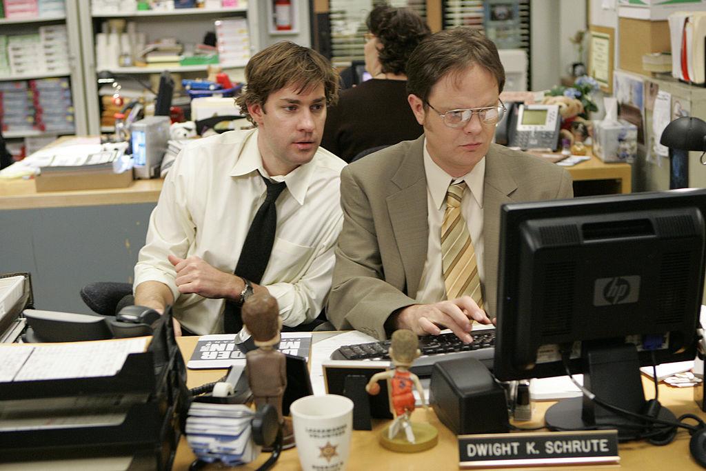 John Krasinski as Jim Halpert, Rainn WIlson as Dwight Schrute on The Office
