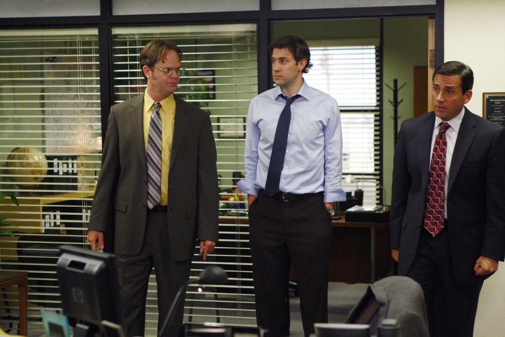 The Office: Rainn Wilson as Dwight Schrute, John Krasinski as Jim Halpert, Steve Carell as Michael Scott
