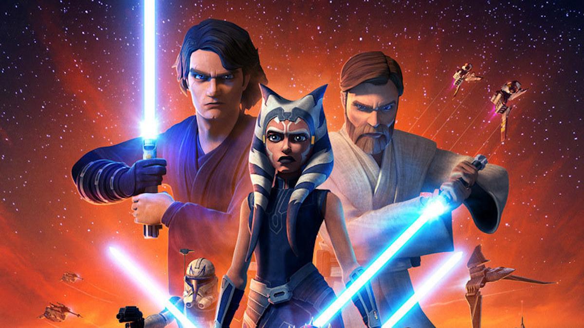 A promotional poster for 'Star Wars: The Clone Wars' Season 7, featuring Anakin, Ahsoka, and Obi-Wan.