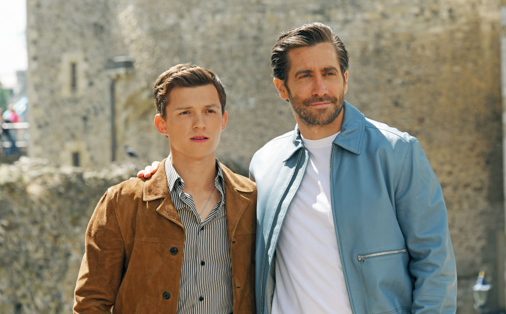 Tom Holland (L) and Jake Gyllenhaal attend a photocall for 'Spider-Man: Far From Home' at the Tower of London on June 17, 2019