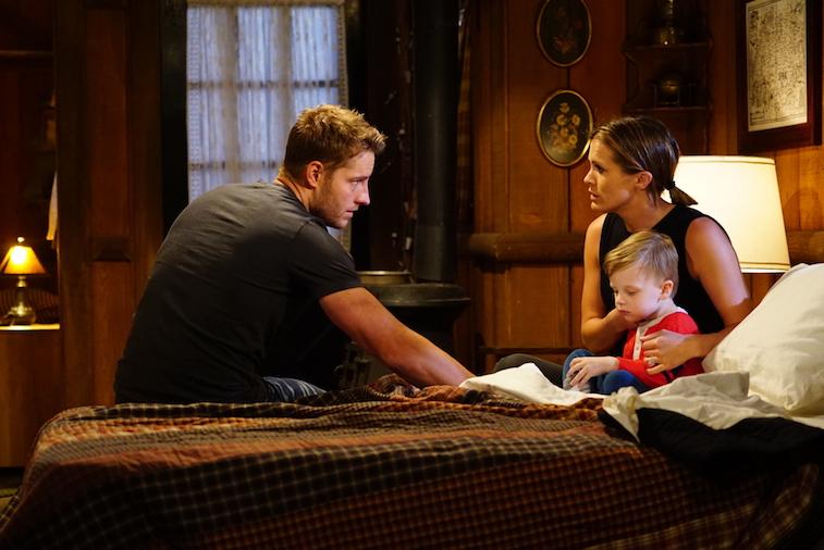 Melissa Claire Egan (Chelsea Newman) and Justin Hartley (Adam Newman)