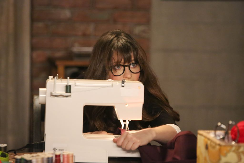 Jess with a sewing machine