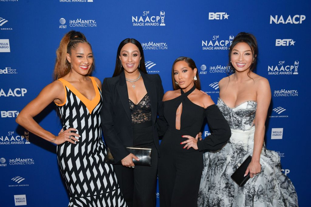 Amanda Seales, Tamera Mowry-Housley, Adrienne Houghton, and Jeannie Mai on the red carpet at an event in February 2020