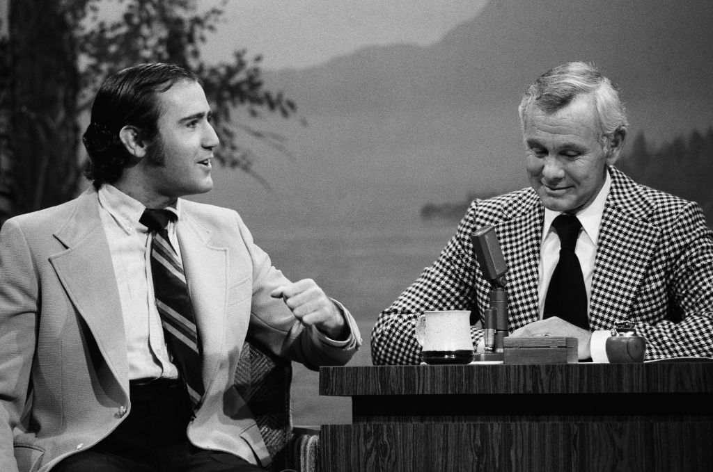 Andy Kaufman during an interview with host Johnny Carson on January 21, 1977
