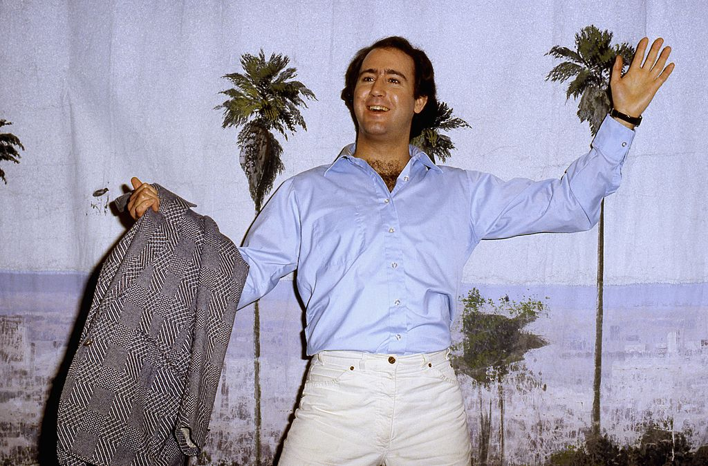 """Andy Kaufman arrives to host the late-night sketch comedy show """"Fridays"""" on February 20, 1981"""