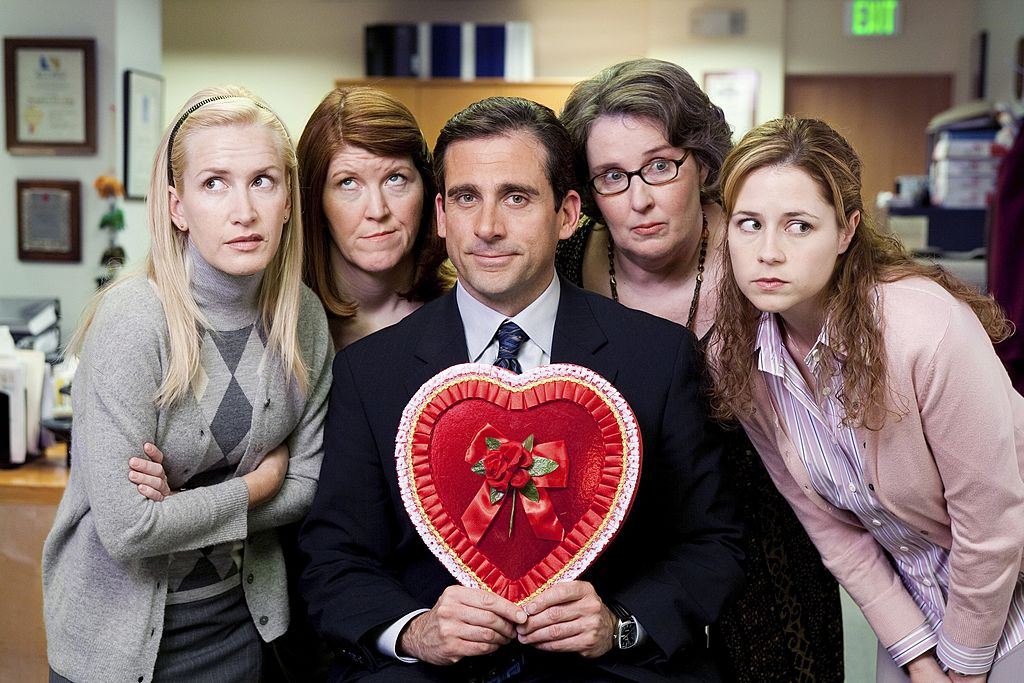 The Office cast Angela Martin, Kate Flannery, Steve Carell, Phyllis Smith, and Jenna Fischer