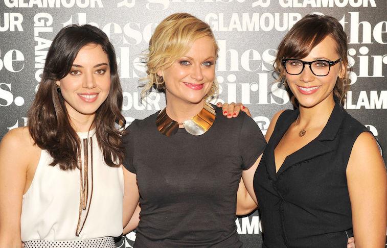Aubrey Plaza (April), Amy Poehler (Leslie), and Rashida Jones (Ann)