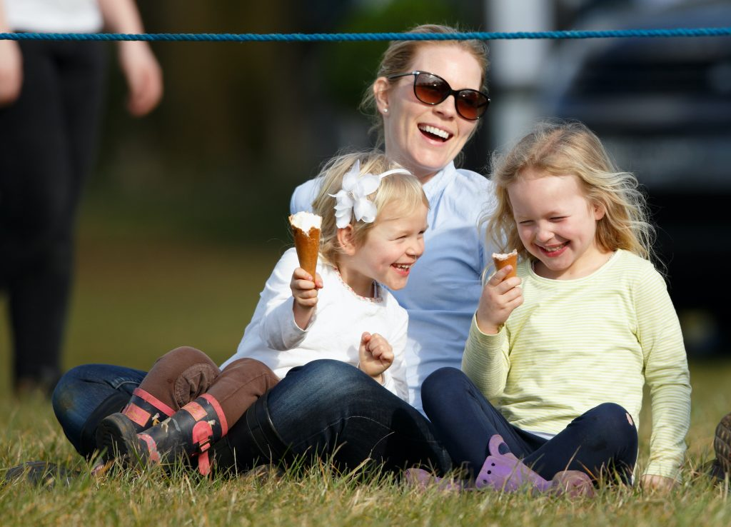 Autumn Phillips with her daughters at the Gatcombe Horse Trials