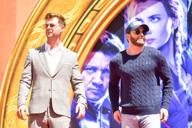 Chris Hemsworth and Chris Evans pose at the TCL Chinese Theatre IMAX Forecourt