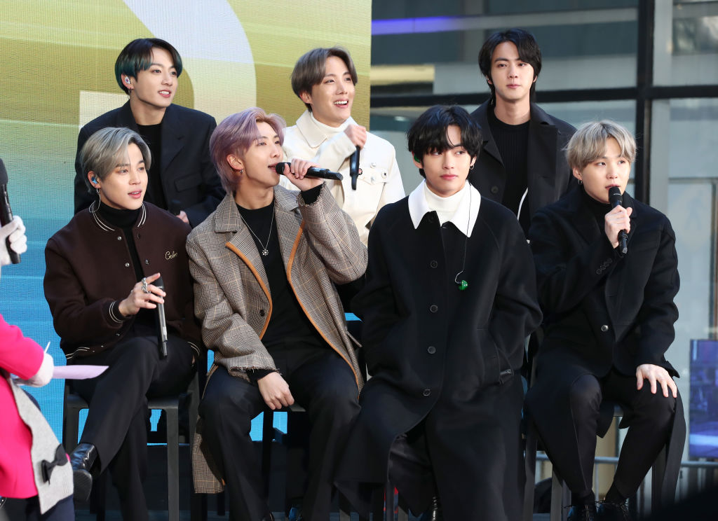 "Jimin, Jungkook, RM, J-Hope, V, Jin, and Suga of BTS visit the ""Today"" Show at Rockefeller Plaza on February 21, 2020 in New York City."