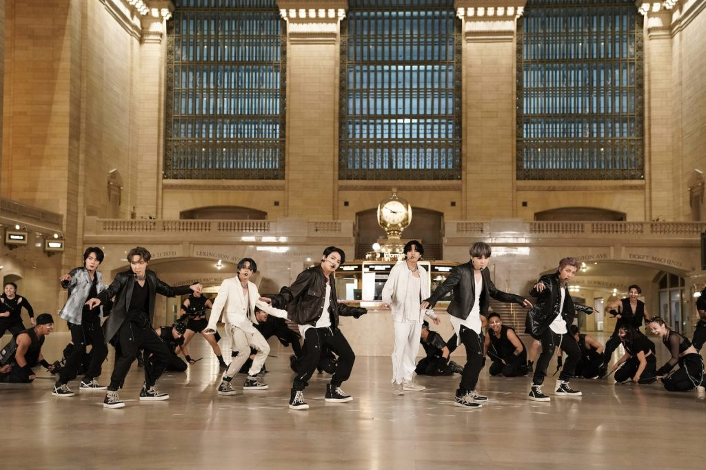 Musical guest BTS performs in Grand Central Terminal