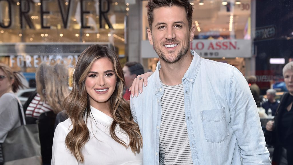 "'The Bachelorette' stars JoJo Fletcher and Jordan Rodgers visit ""Extra"" filmed live at the Levi's Store Times Square on October 30, 2019 in New York City."