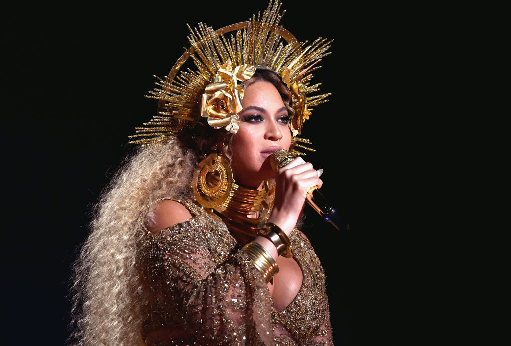Beyoncé performing on stage in February 2017