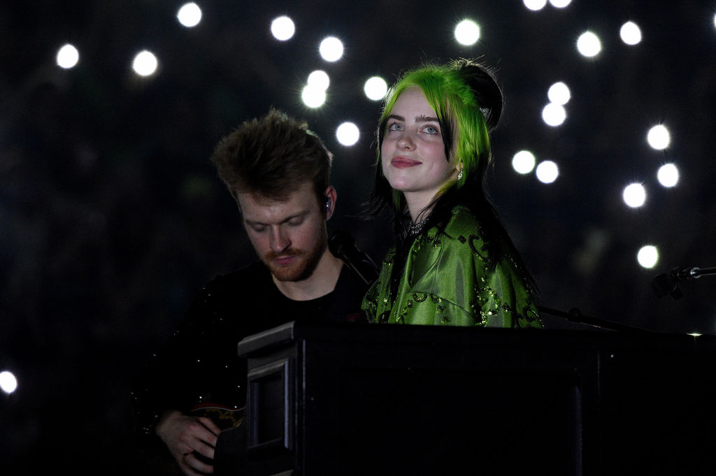 Finneas O'Connell and Billie Eilish perform live on stage at Billie Eilish 'Where Do We Go?' World Tour Kick Off