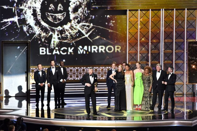 The cast and crew of 'Black Mirror' at the Emmy Awards