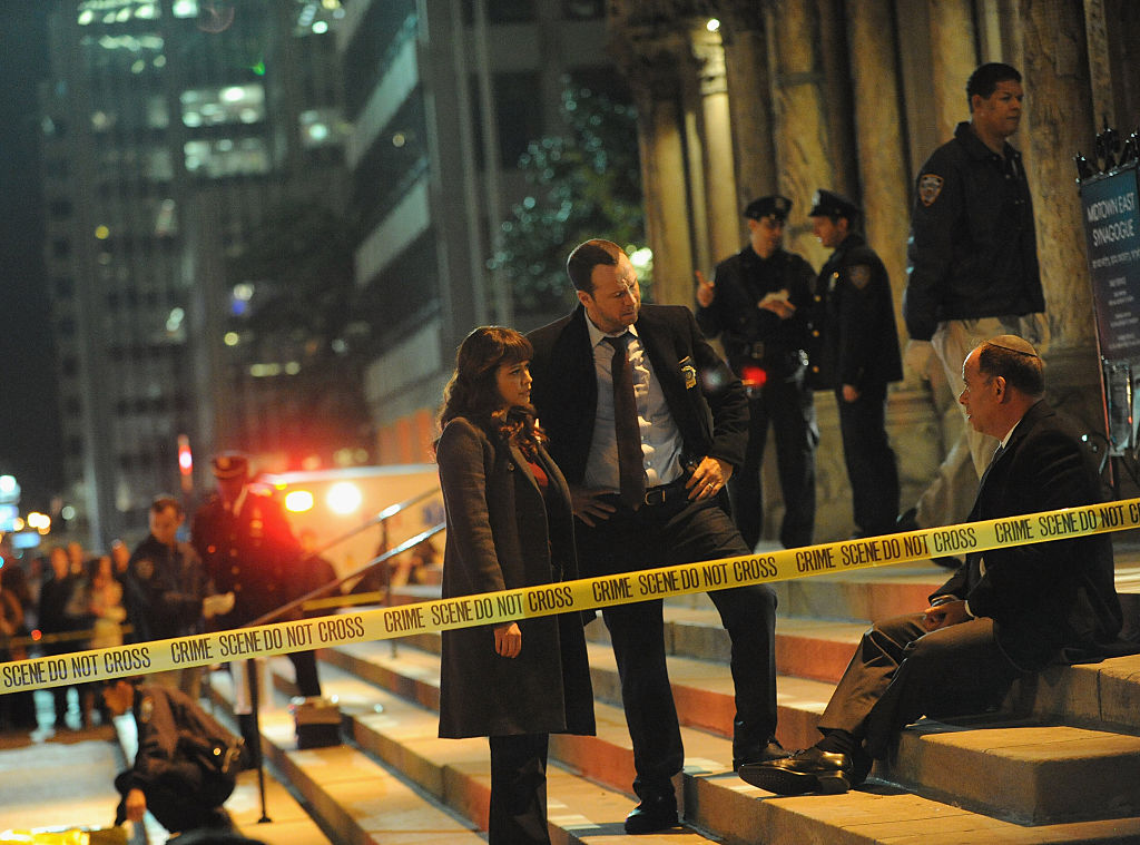 Donnie Wahlberg and Marisa Ramirez on set of 'Blue Bloods'