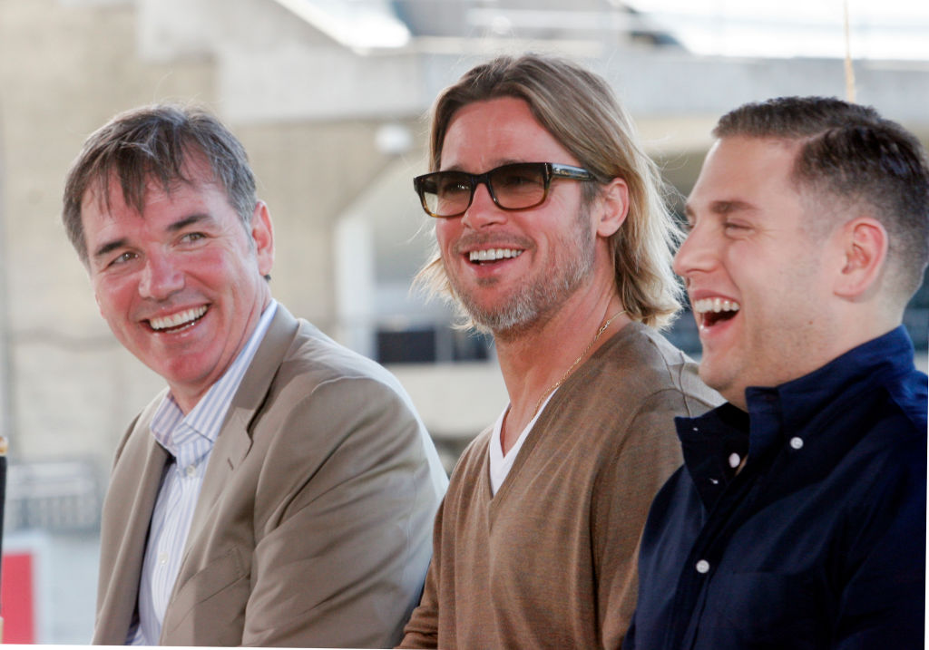 Billy Beane, Brad Pitt, and Jonah Hill answering questions
