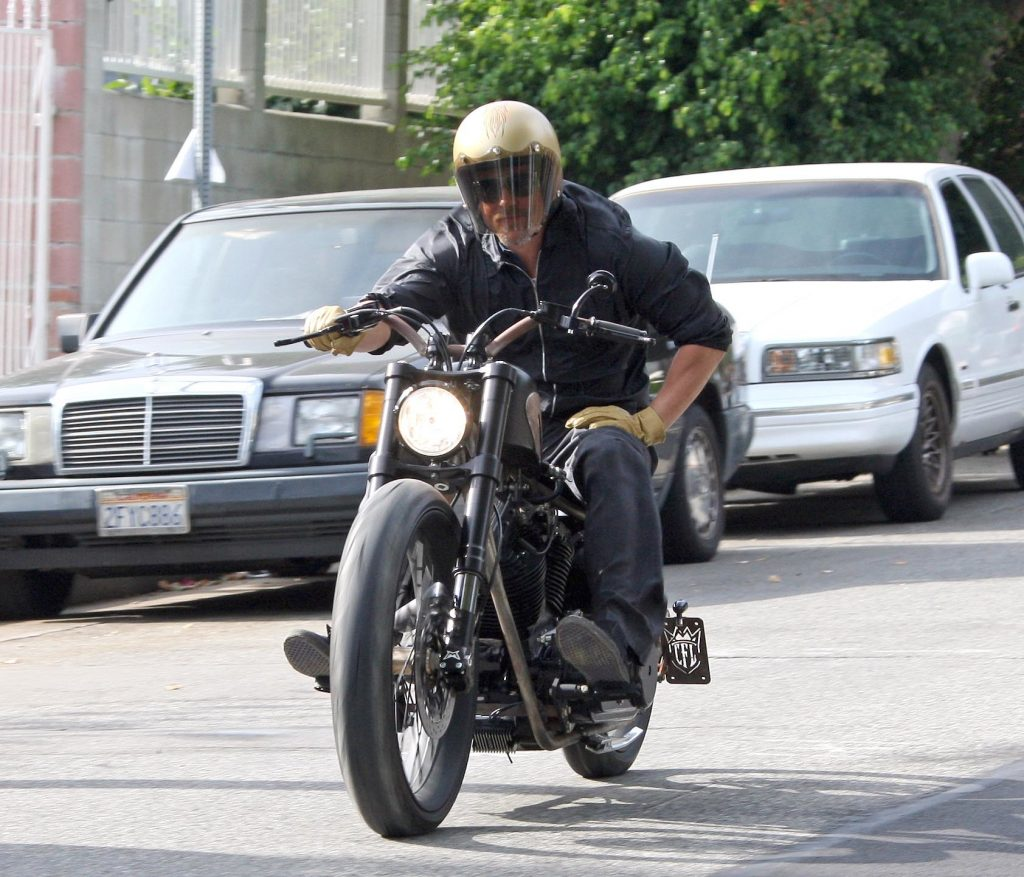 Brad Pitt riding his customized motorcycle