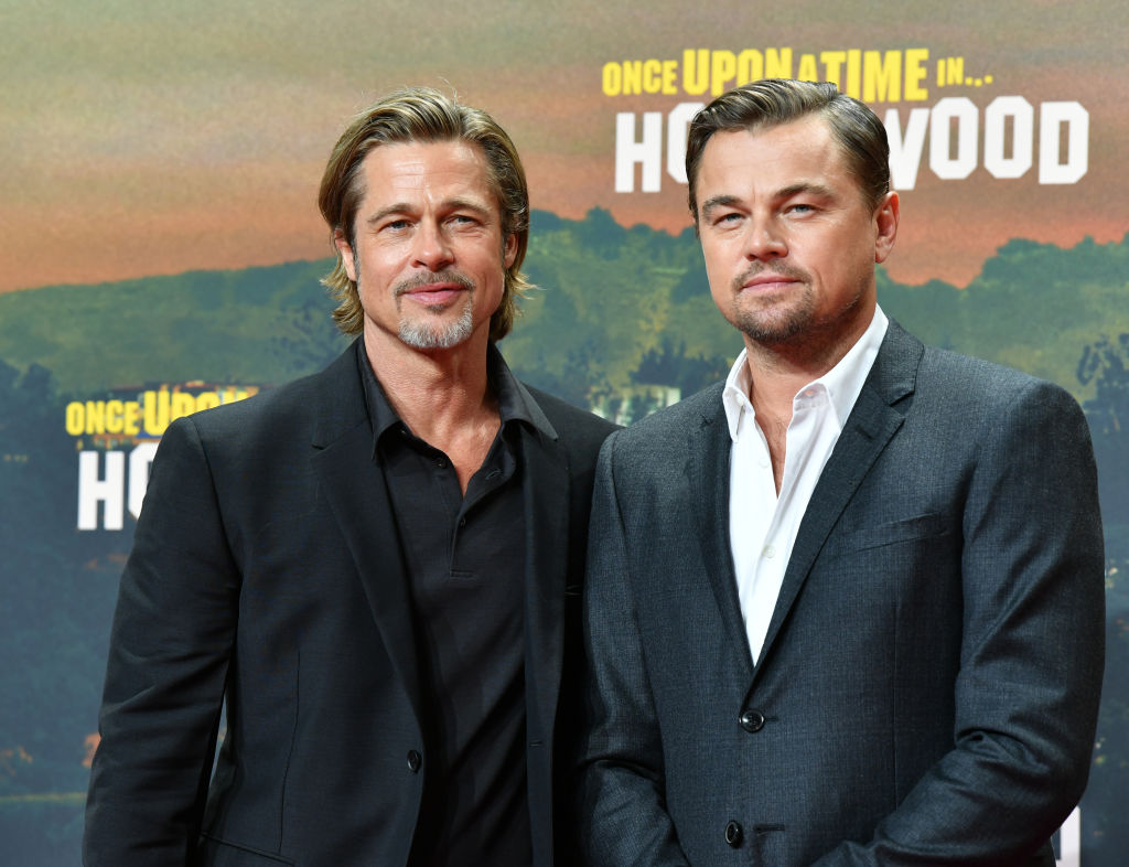 "Brad Pitt (l) and Leonardo DiCaprio come to the premiere of their movie 'Once upon a time...in Hollywood""'"