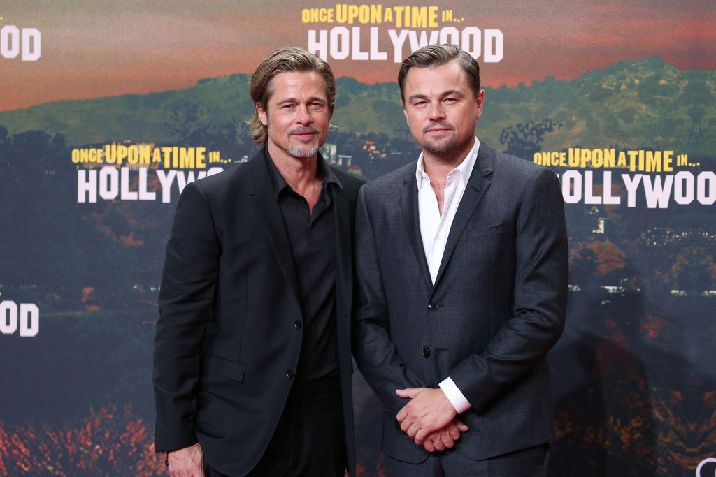 Brad Pitt and Leonardo DiCaprio during the premiere of 'Once Upon A Time In Hollywood' at CineStar